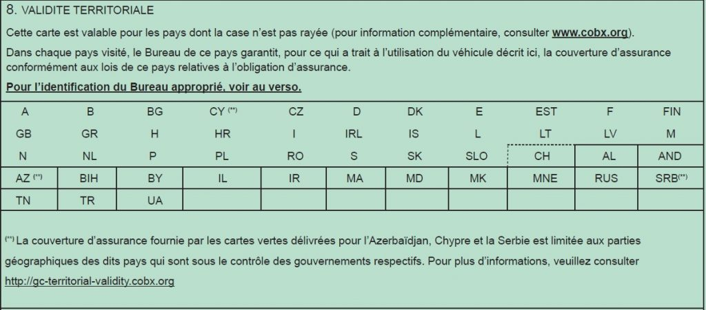 numéro de carte verte Le recto de la carte verte   Bureau Central Français